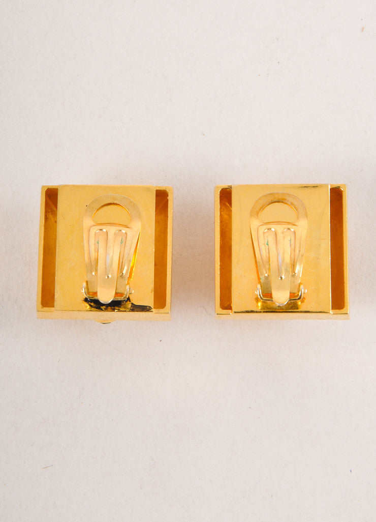 Vintage Gold Toned Stone Embellished Square Earrings