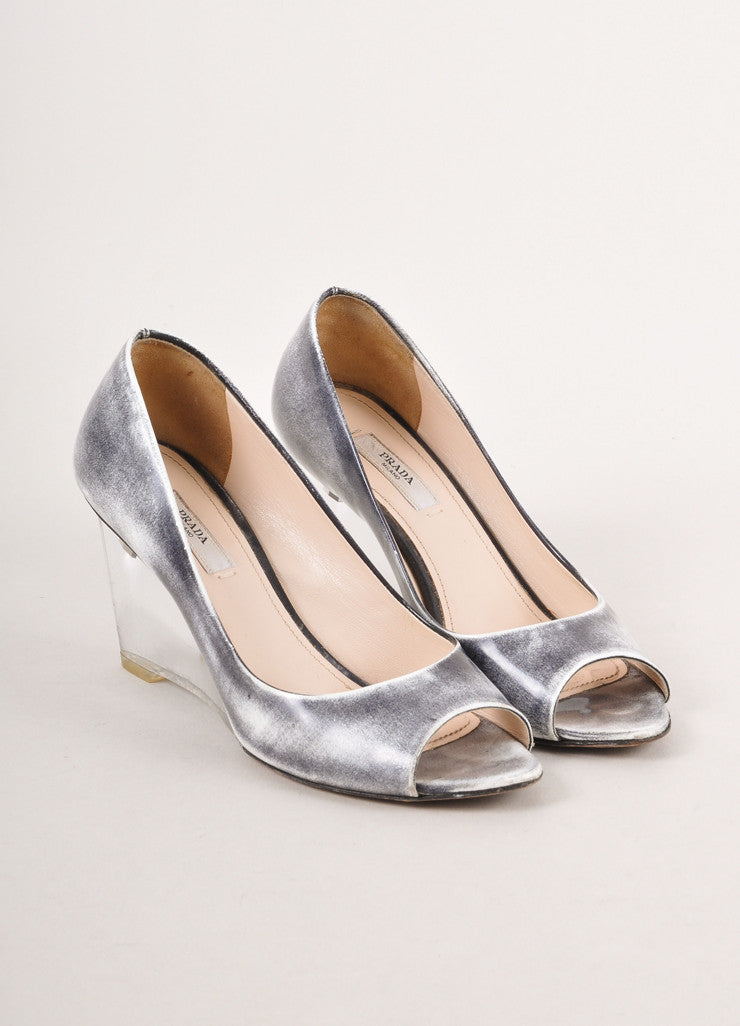 Grey and White Distressed Leather Peep Toe Lucite Wedges