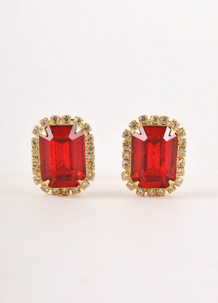Gold Toned and Ruby Red Emerald Cut Rhinestone Embellished Earrings