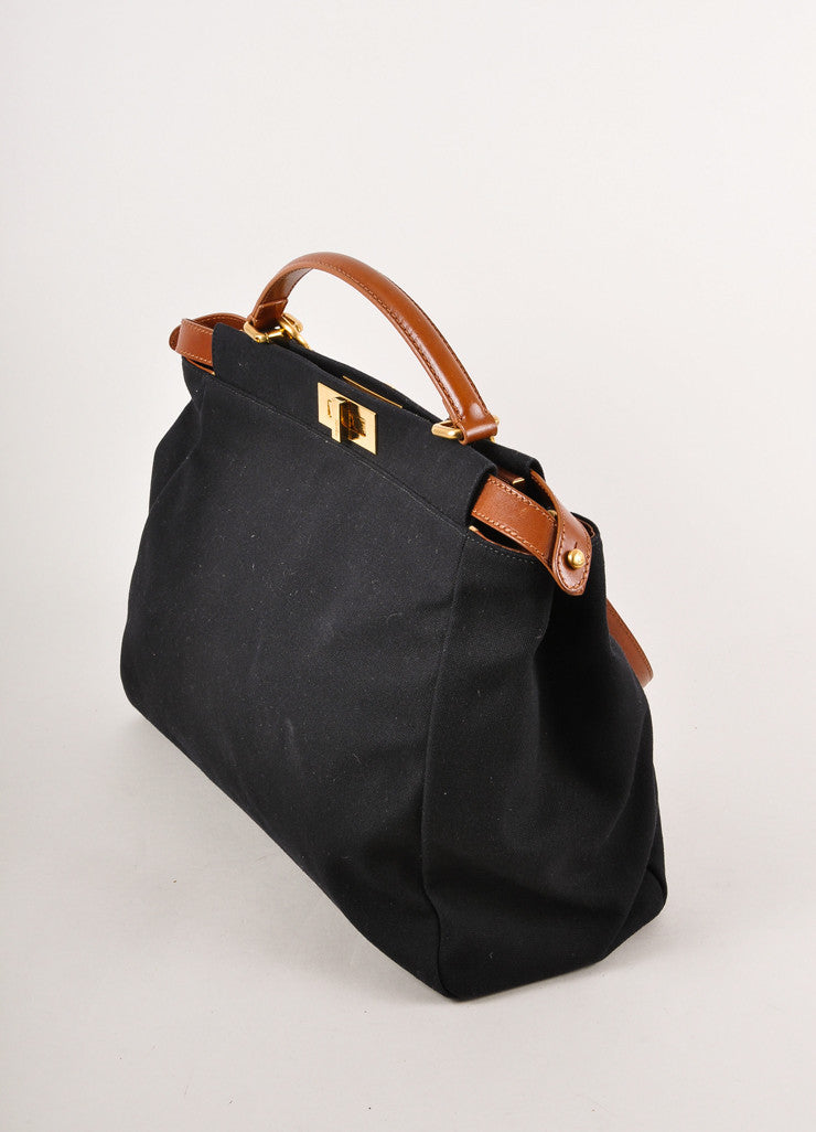 Black and Brown Canvas Peekaboo Tote Bag