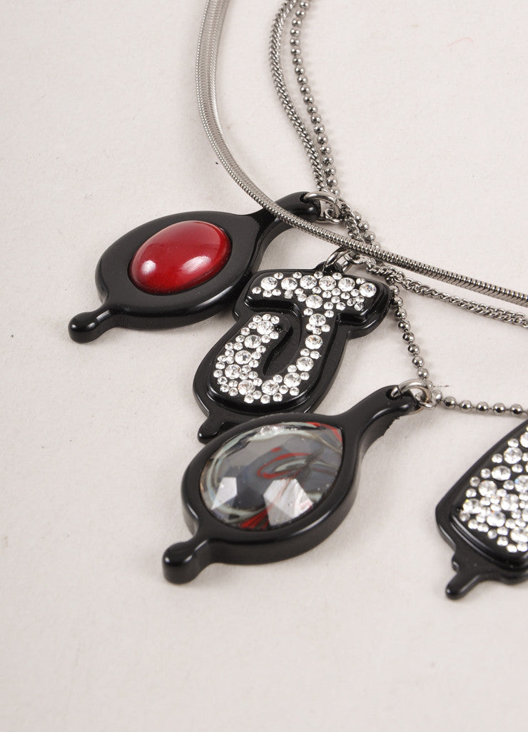"New With Tags Black Melted ""JPG"" Rhinestone Necklace"