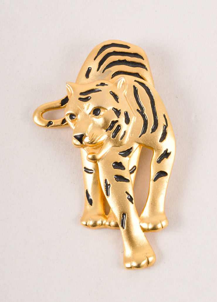 Gold Toned and Black Running Tiger Pin