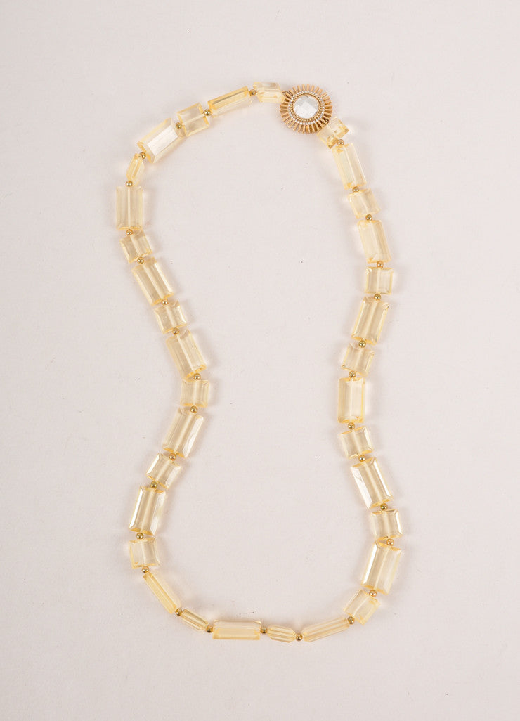 Lucite Rectangle Necklace With Gold Toned Rosette Pendant