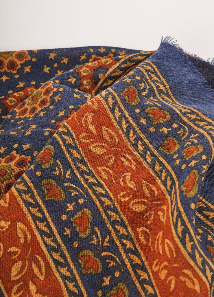 Navy, Rust, and Tan Radial Floral and Leaf Print Scarf