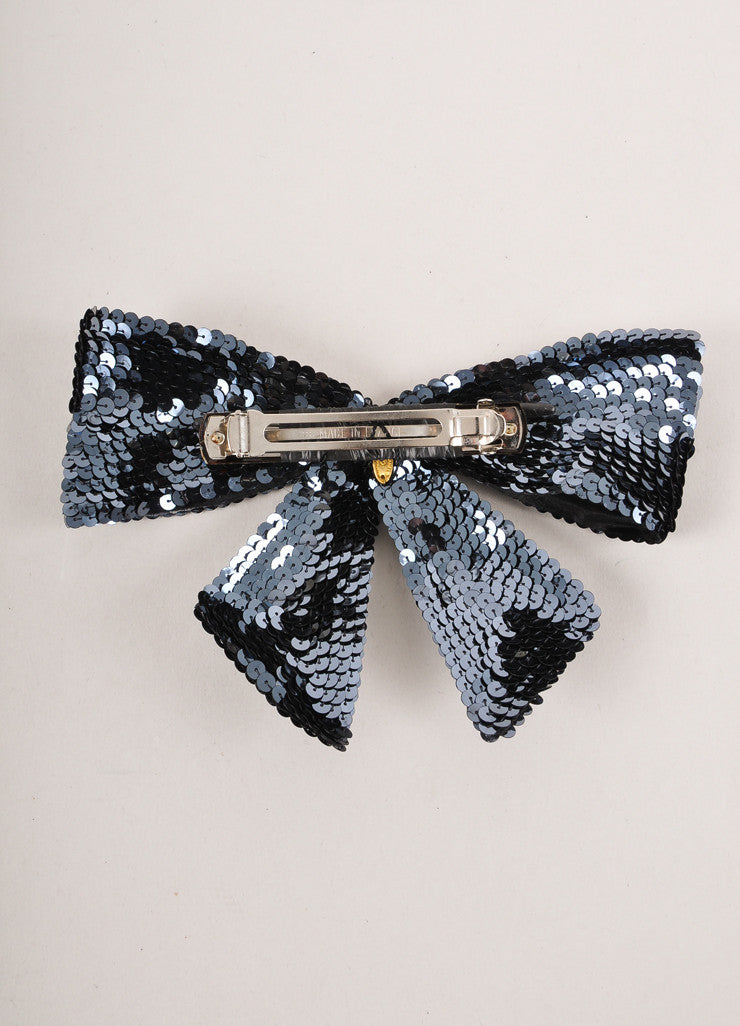 Navy Blue Sequin Bow Barrette
