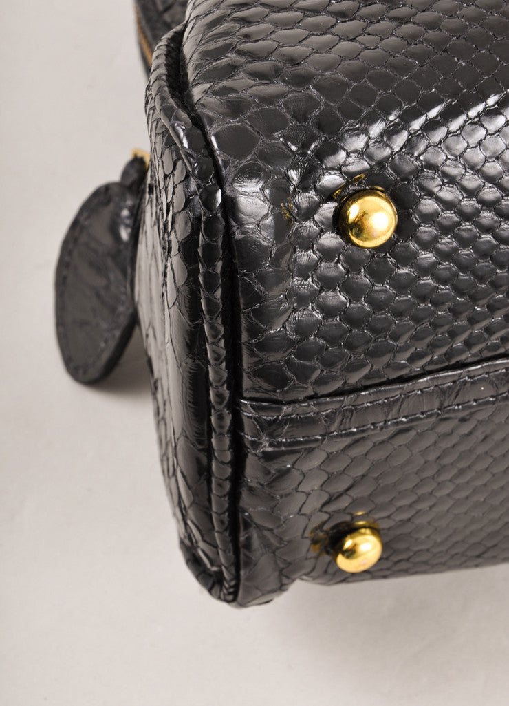 Black Glazed Snakeskin Leather Bowling Tote Bag