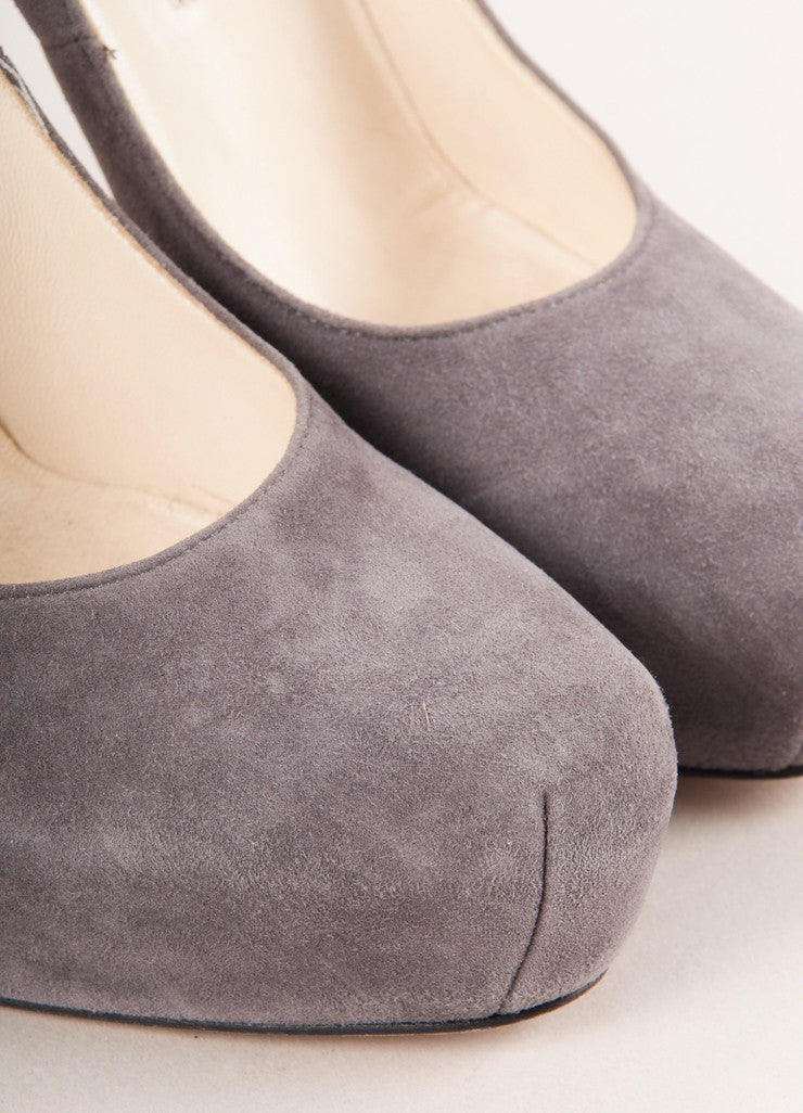 "Grey Suede Leather ""Maniac"" Platform Pumps"