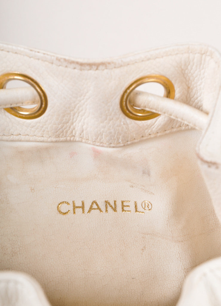 "White and Gold Caviar Leather ""CC"" Chain Strap Bucket Bag"