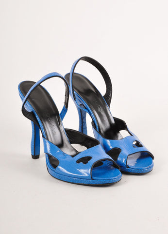 Blue Cracked Patent Leather Sandal Heels