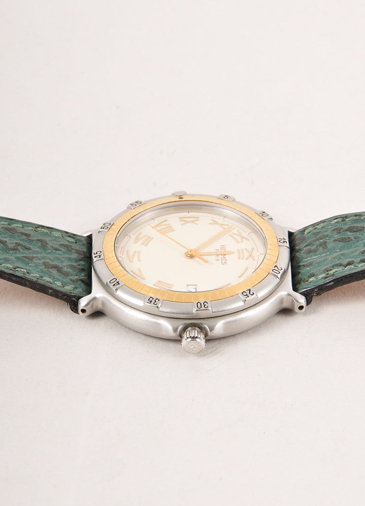 "Green Leather and Quartz ""Captain Nemo"" Wristwatch"