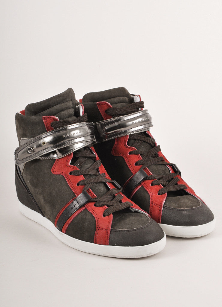 New In Box Grey and Red Suede Leather Lace Up Wedge Sneakers