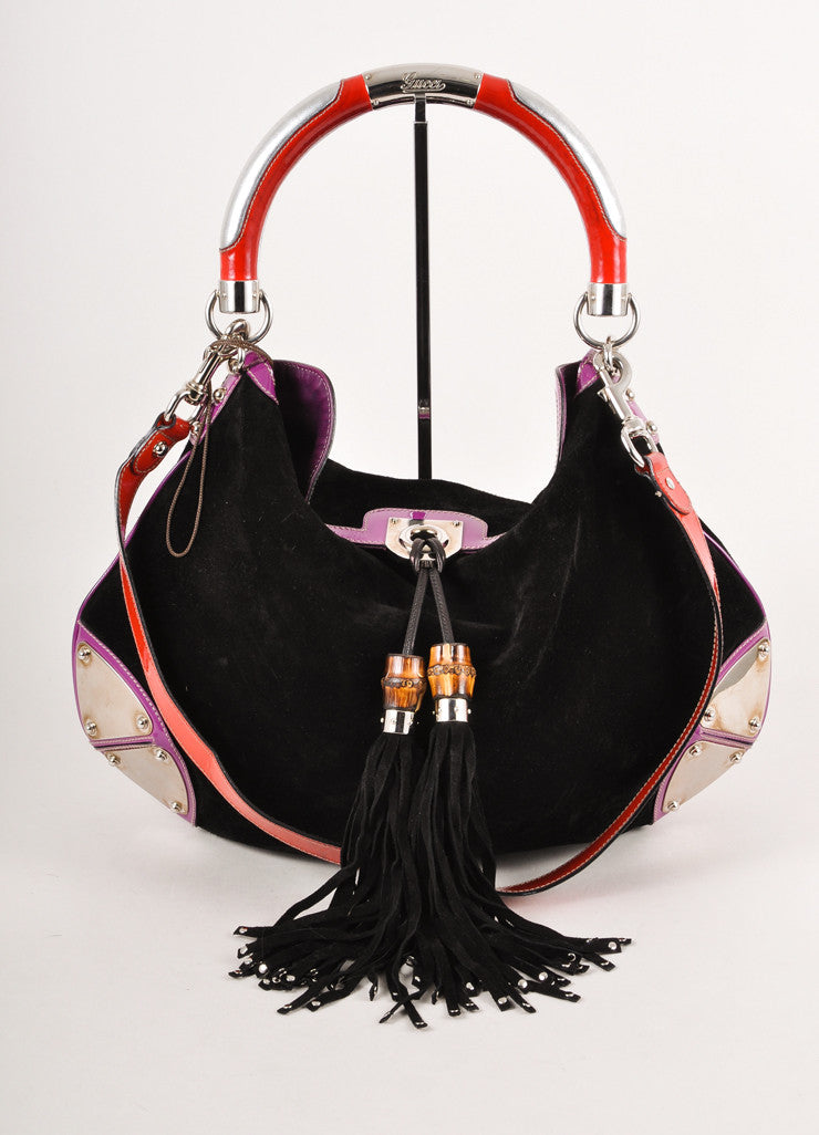 Black, Red, and Purple Suede Babouska Indy Top Handle  Bag With Silver Hardware