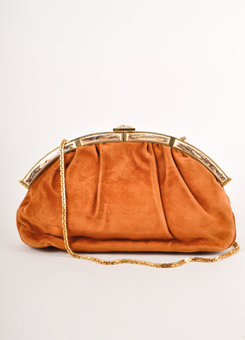 Judith Leiber Brown and Gold Toned Ruched Suede Leather Chain Strap Clutch Bag Frontview