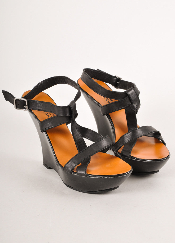 Black Strappy Leather Sandals With Patent Platform Wedge