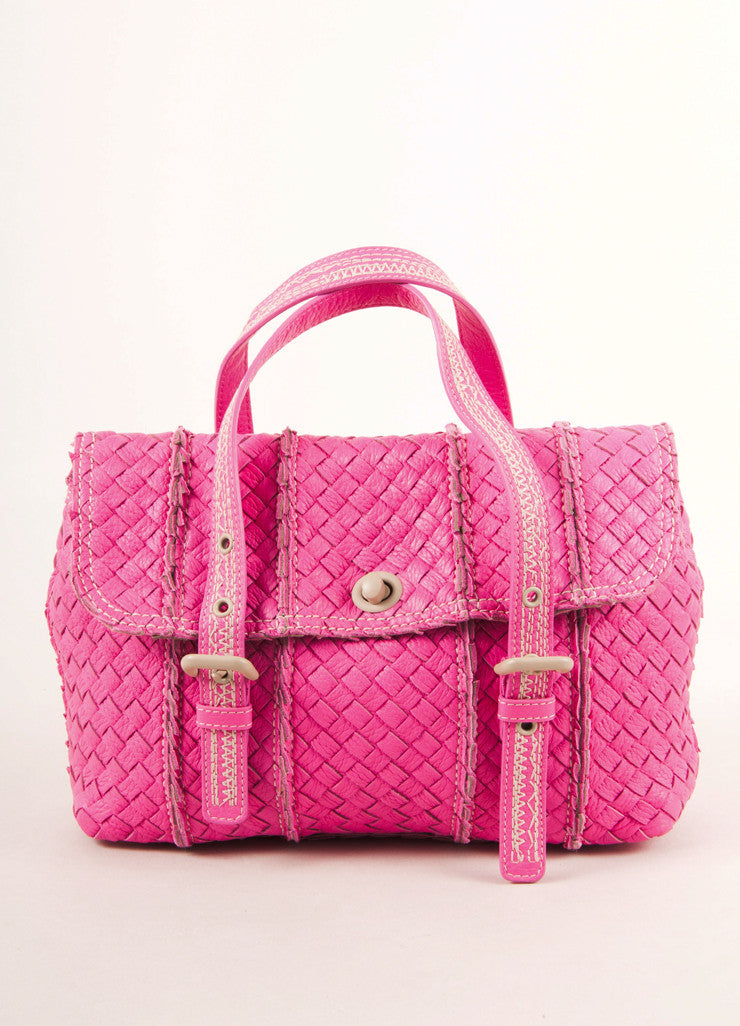 New With Tags Hot Pink Woven Leather Turnlock Crossbody Bag