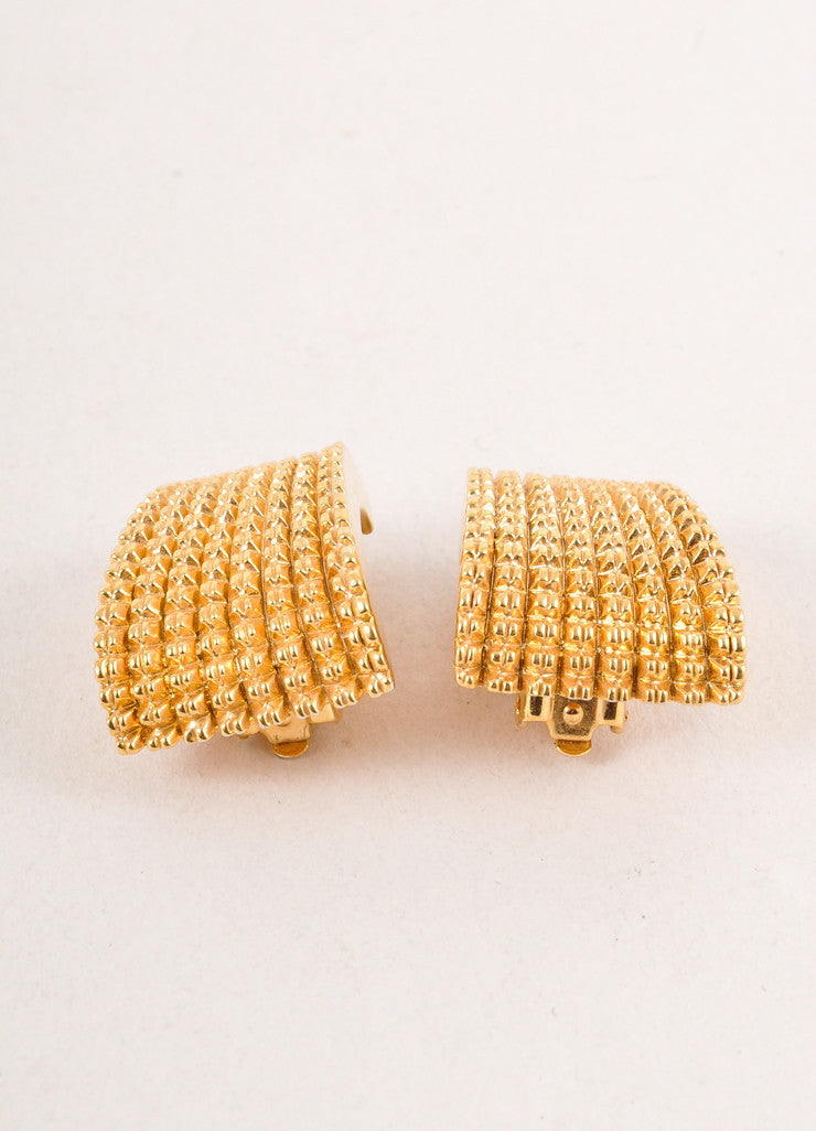 Gold Toned St. John Textured Clip On Earrings