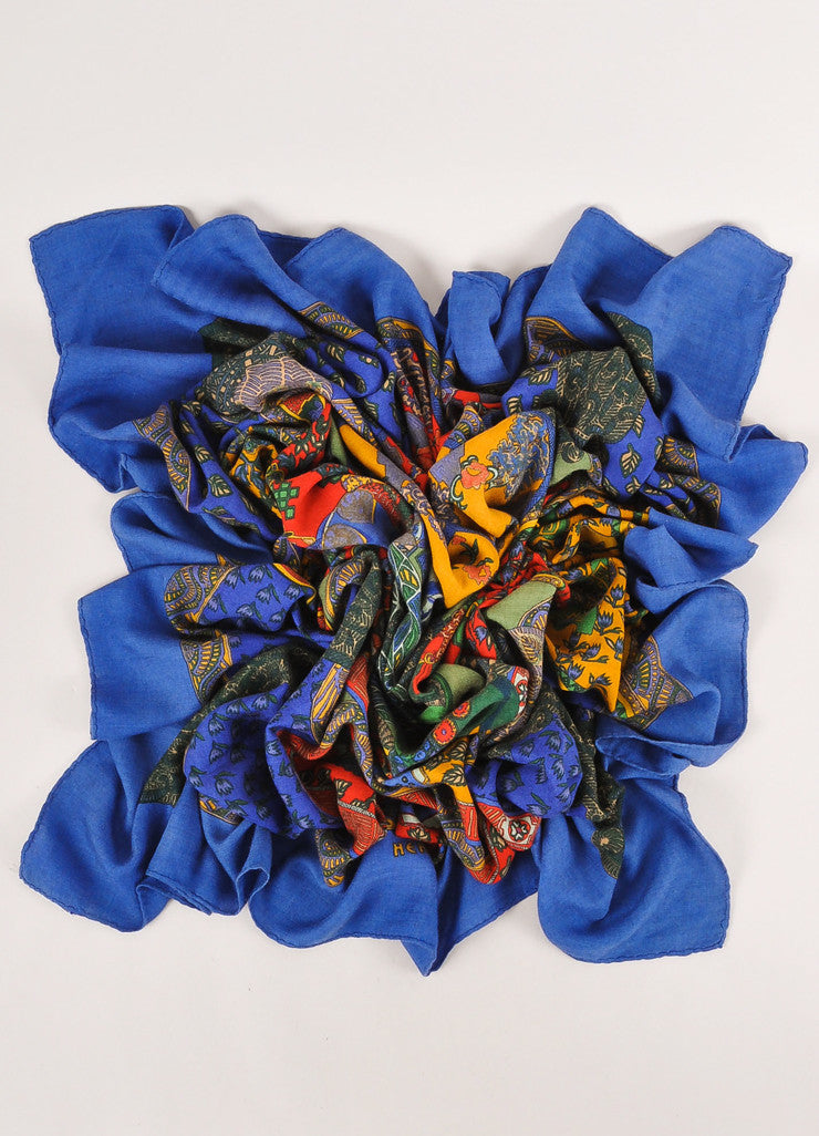 "Multicolor Cashmere and Silk Horse and Floral Print ""Art des Steppes"" Scarf"