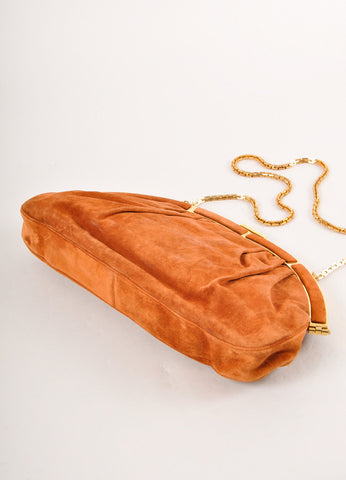 Judith Leiber Brown and Gold Toned Ruched Suede Leather Chain Strap Clutch Bag Sideview
