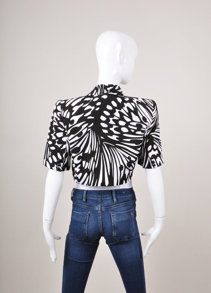 Black and White Mila Schon Patterned Short Sleeve Cropped Jacket