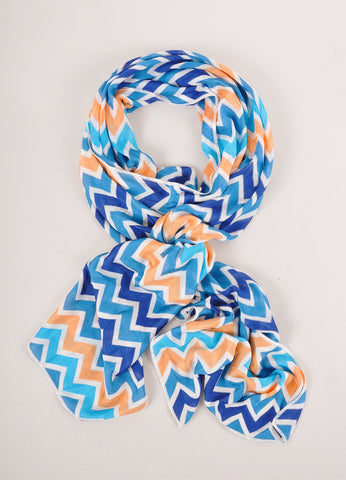 New With Tags Blue, Orange, and White Zig Zag Stripe Lightweight Knit Scarf