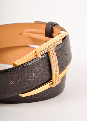 "Brown Pebbled Leather Rhinestone ""T"" Belt"