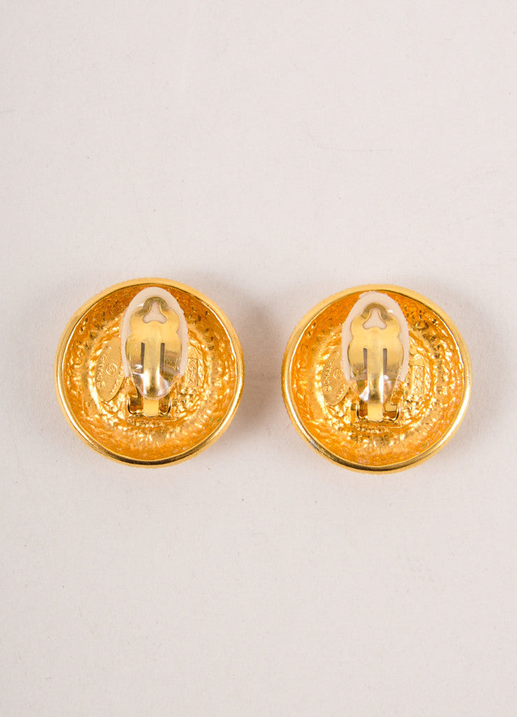 Chanel Gold Toned and Faux Pearl Textured Round Earrings