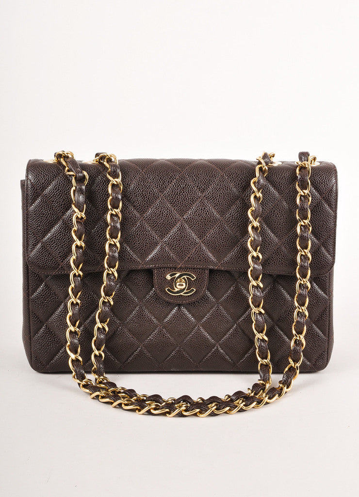 Brown Quilted Caviar Leather Chain Strap Jumbo Flap Bag