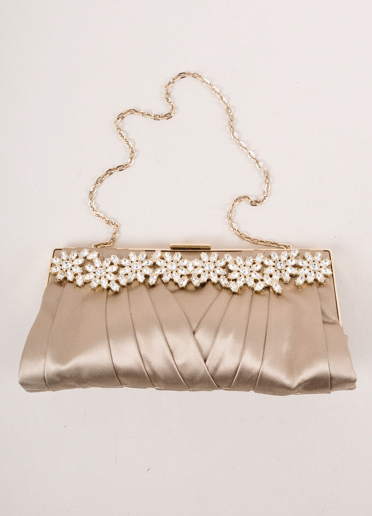 Grey Pleated Satin Rhinestone Evening Clutch With Floral Crystal Rhinestone Embellishment