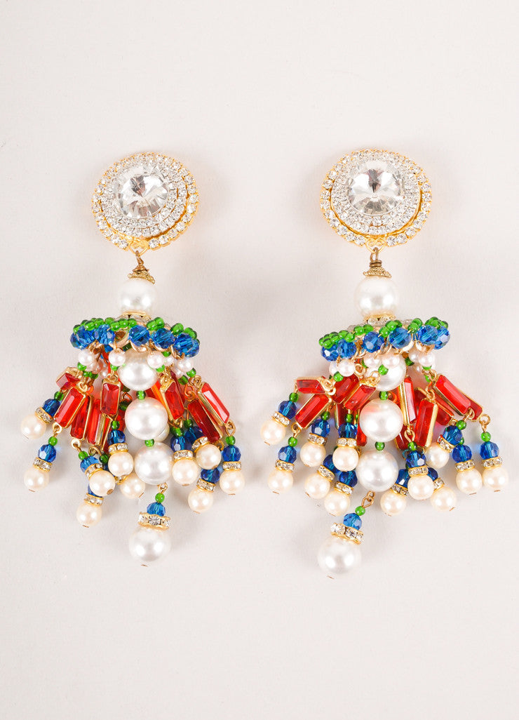 Green, Red, and Blue Crystal Chandelier Earrings