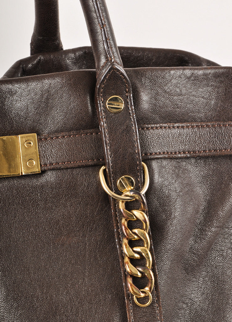 "Dark Brown and Gold Toned Hardware Large Leather ""Kansas"" Tote Bag"