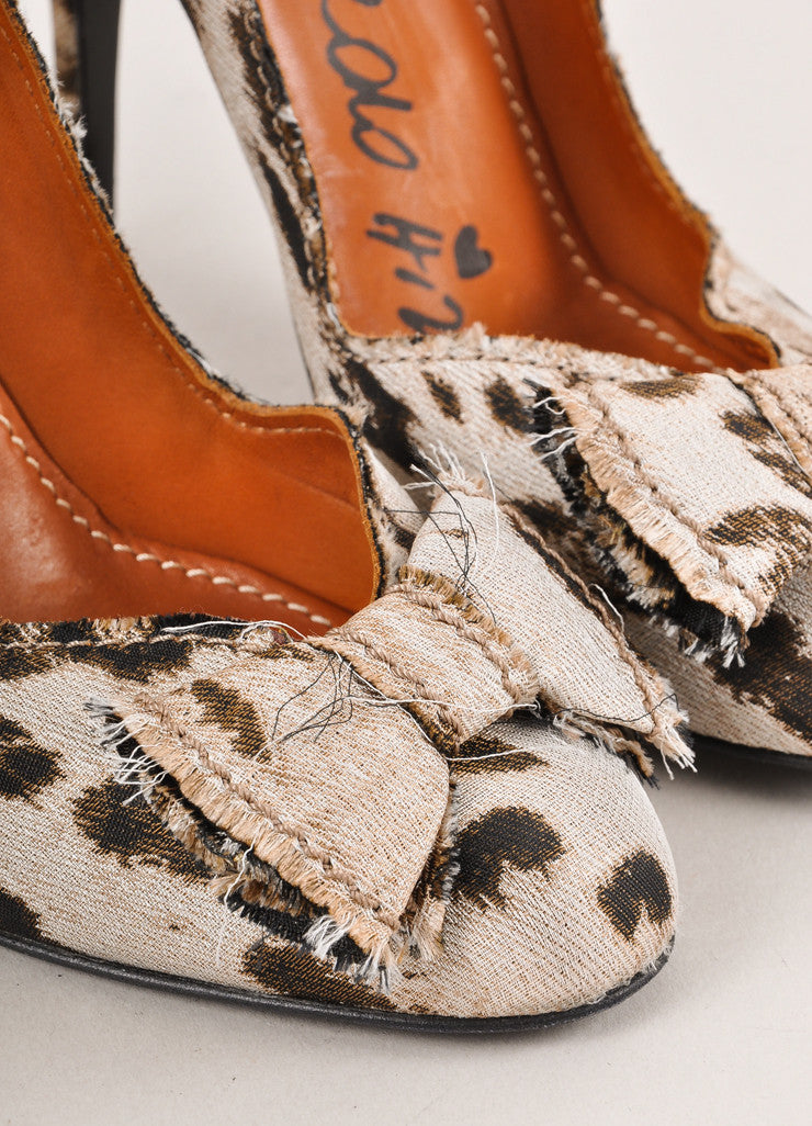 Brown and Light Grey Leopard Print Bow Detail Pumps