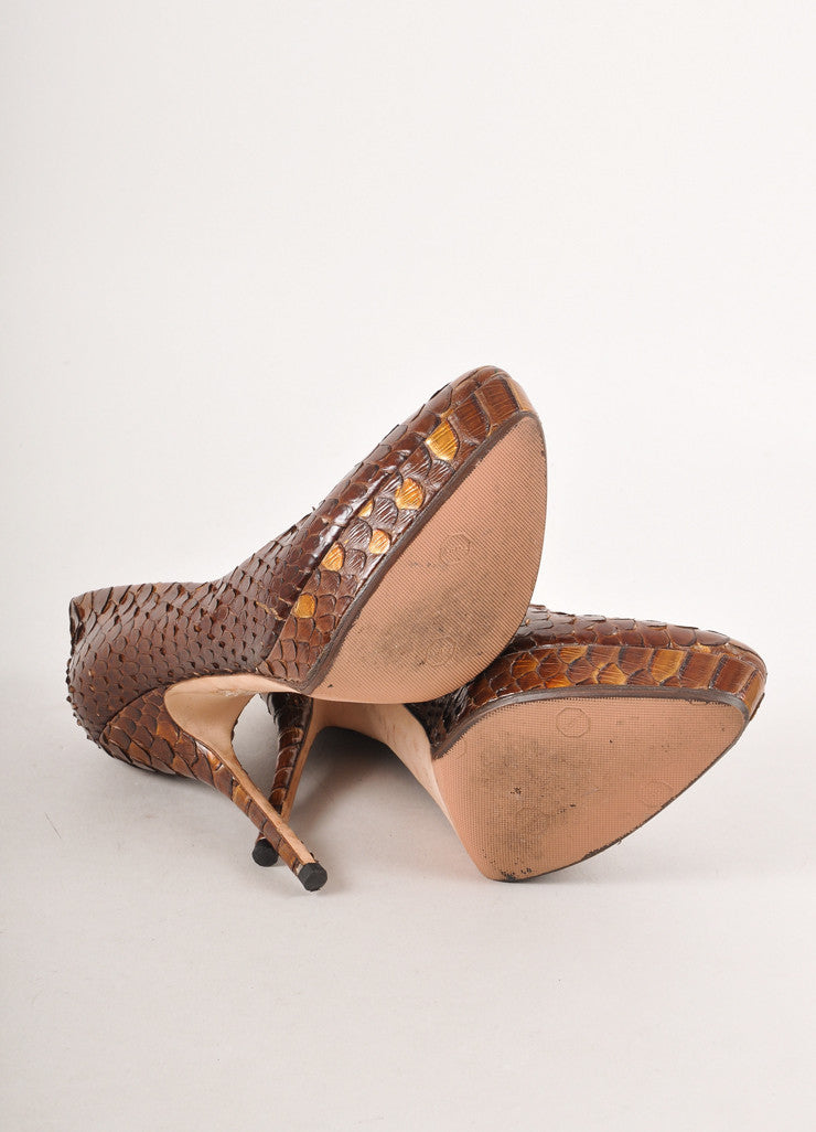 Brown and Bronze Python Leather Pointed Toe Platform Pumps