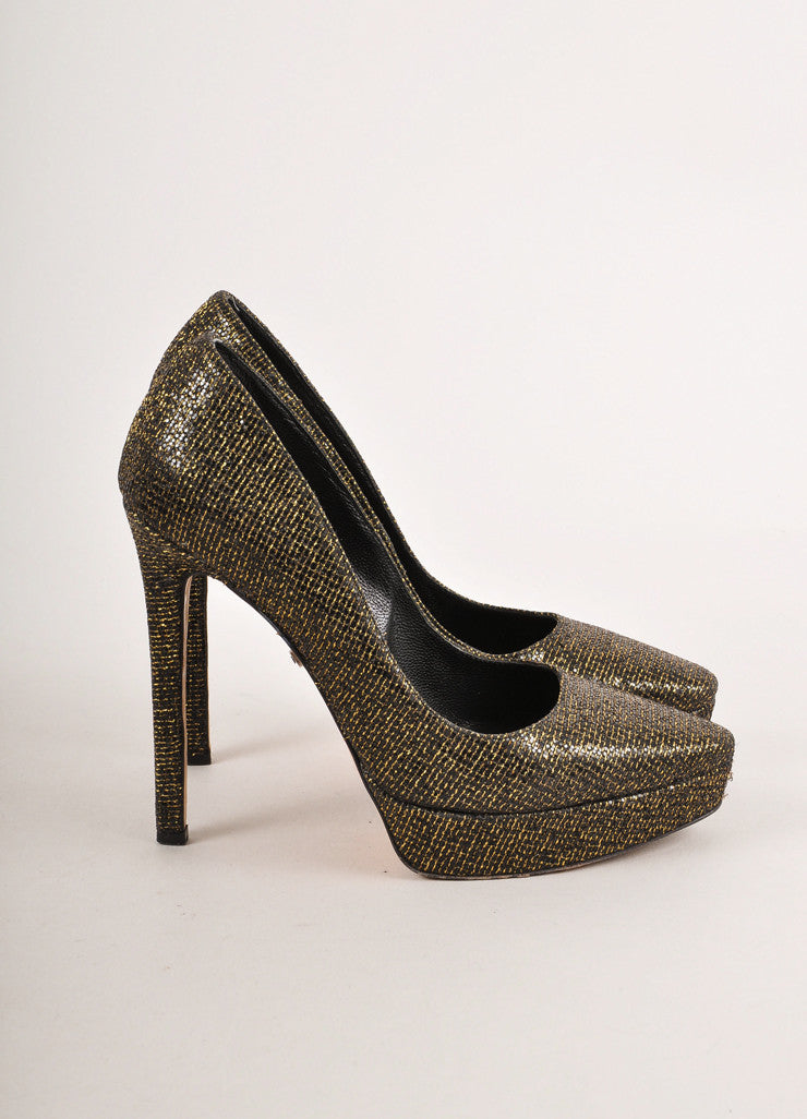 Gold Metallic and Black Glitter Pointed Toe Platform Pumps