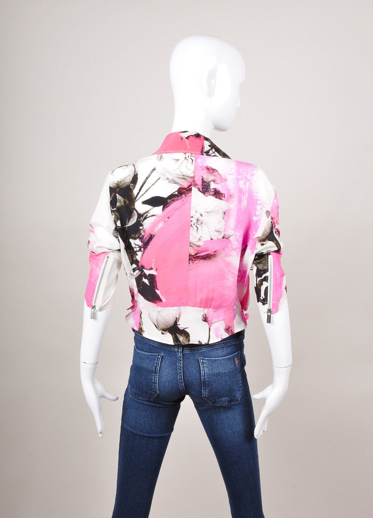 Pink, White, and Black Floral Print Silk Moto Jacket