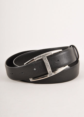 "Black Leather Rhinestone ""T"" Belt"