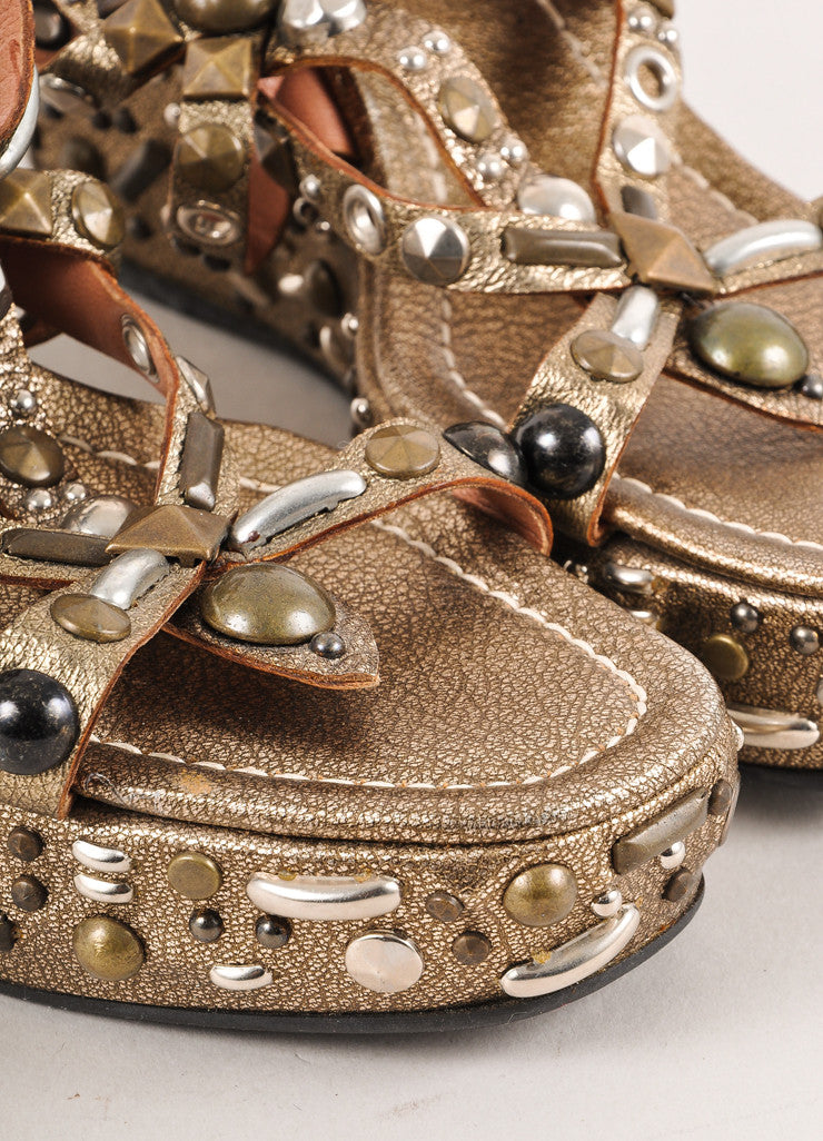 Brass Metallic Leather Chunky Studded Strappy Platform Wedge Sandals