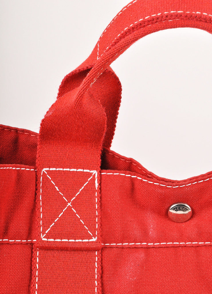 Red Canvas Beach Tote Bag