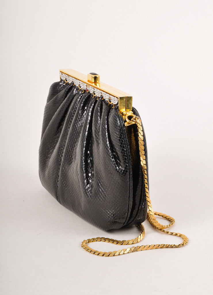 Black, Gold, and Silver Embellished Chain Strap Purse