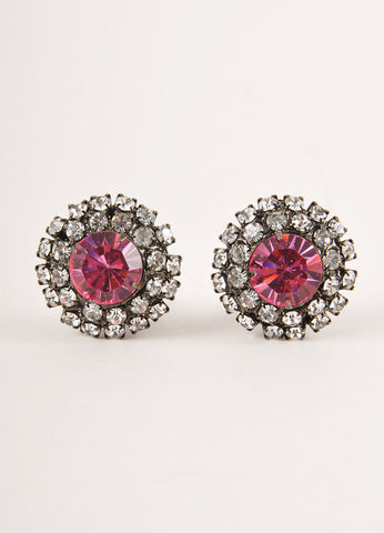 Lawrence Vrba Gunmetal Grey, Pink, and Clear Rhinestone Gem Round Clip On Earrings Frontview