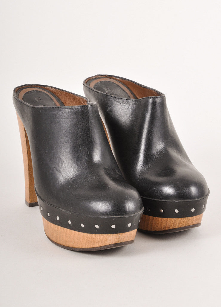 Black and Brown Leather Platform Heel Clogs With Wooden Heel