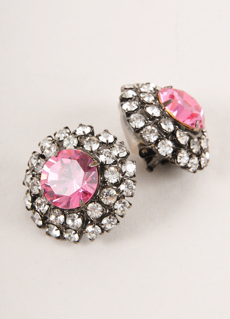 Lawrence Vrba Gunmetal Grey, Pink, and Clear Rhinestone Gem Round Clip On Earrings Sideview