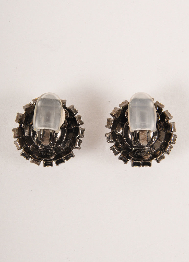 Lawrence Vrba Gunmetal Grey, Pink, and Clear Rhinestone Gem Round Clip On Earrings Backview