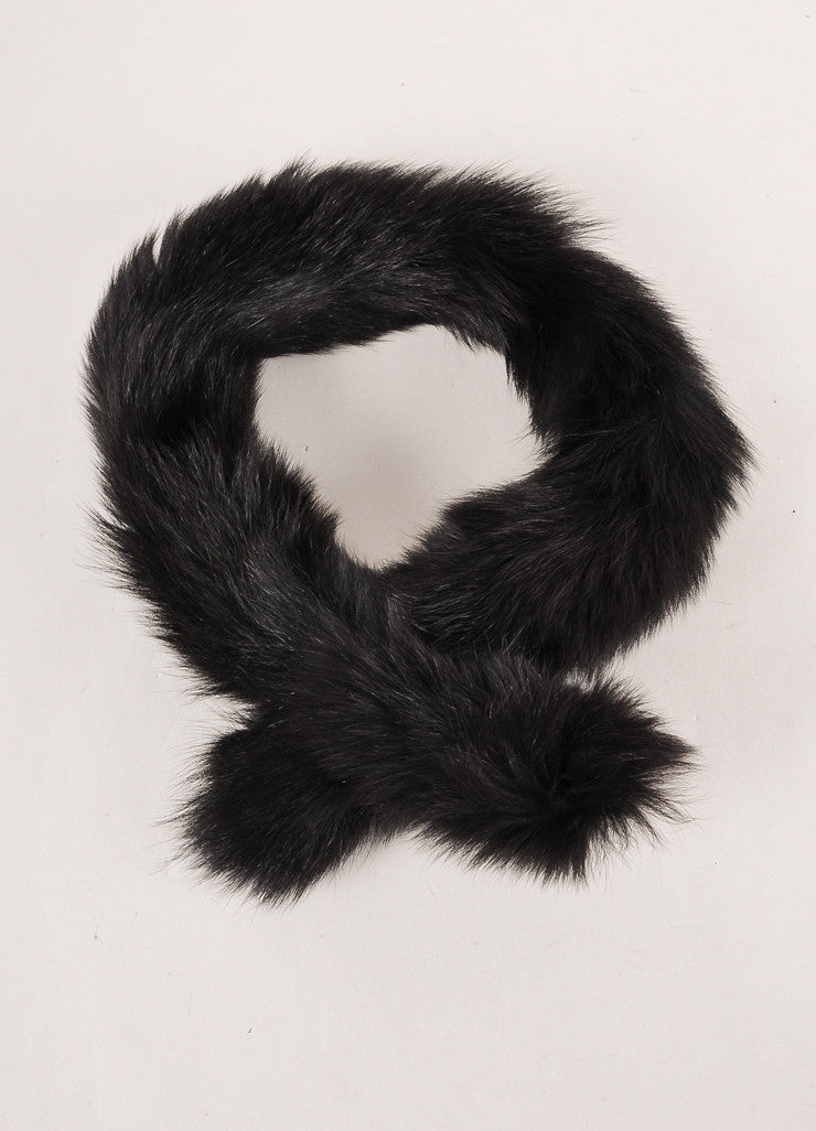 New With Tags Black Fox Fur Skinny Neck Tie