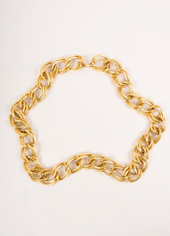 Gold Toned Chunky Double Chain Link Necklace