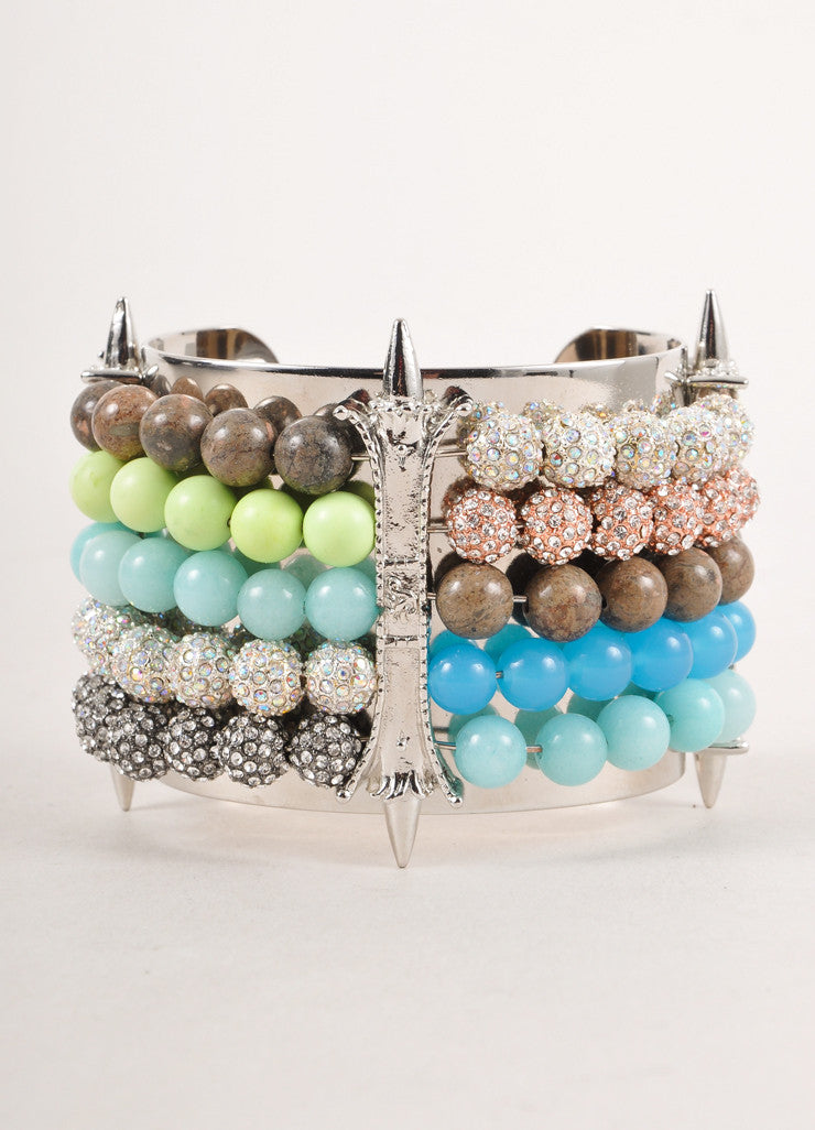 New With Tags Silver Toned and Multicolor Beaded Spiked Cuff Bracelet