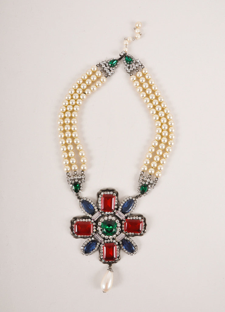 Lawrence Vrba Cream and Multicolor Faux Pearl and Crystal Gem Chunky Statement Necklace Frontview