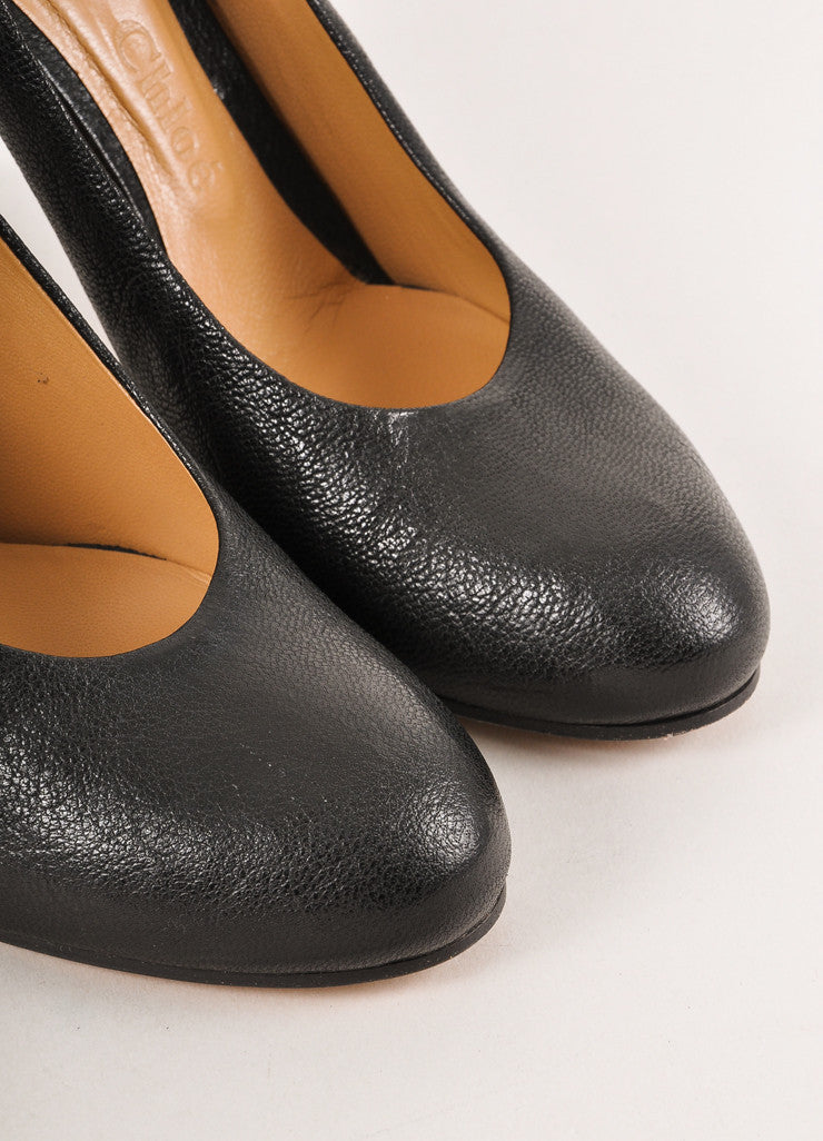 "Black Leather Simple Rounded Toe ""Irina"" Pumps"