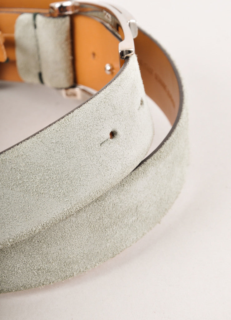 "Mint Green Tod's Suede Rhinestone Embellished ""T"" Belt"