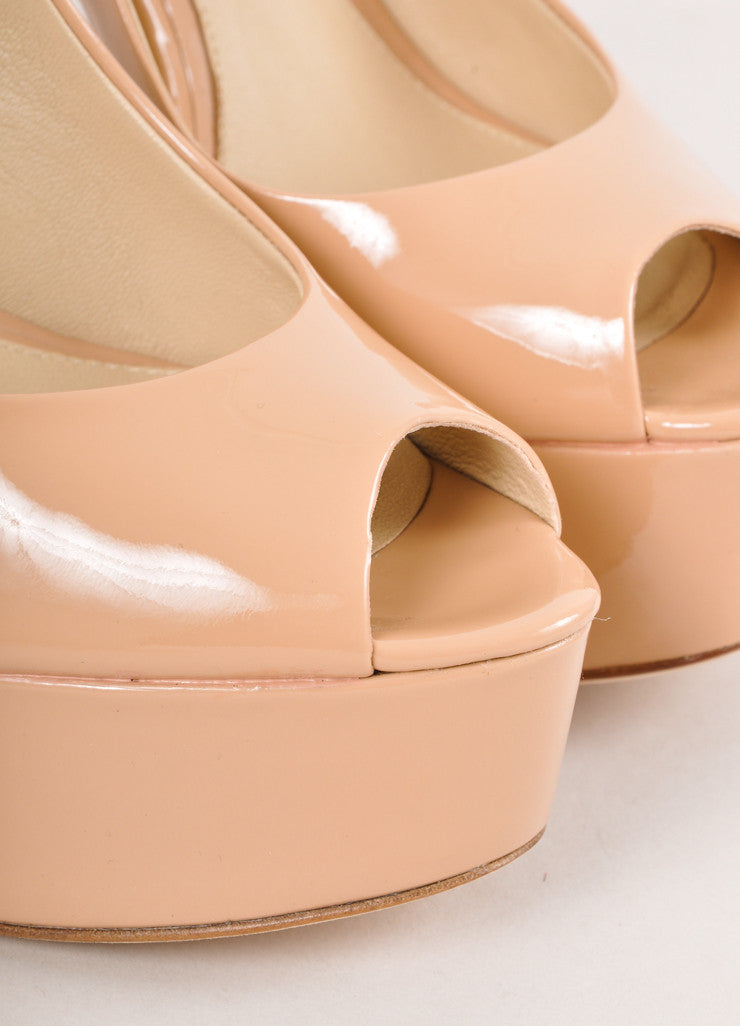 New In Box Nude Patent Leather Peep Toe Pumps