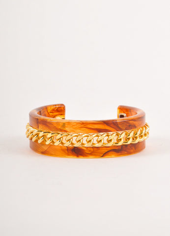 Brown and Gold Tortoiseshell Curb Chain and Resin Bangle Bracelet